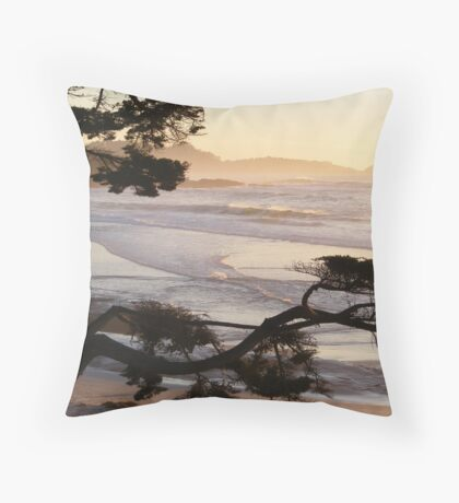 Carmel Peachy Sunset Framed by Branches Throw Pillow