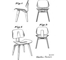Charles Eames - Molded Plywood Lounge Chair - Patent Artwork by fascinatingly