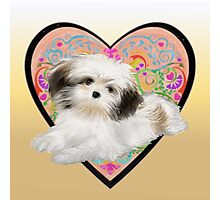 Cuter Puppy Valentine tote pillow  Photographic Print