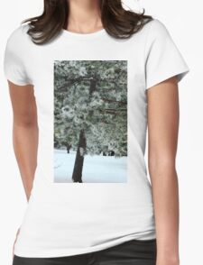 Frosted Pine dedicated to finding winter beauty Womens Fitted T-Shirt