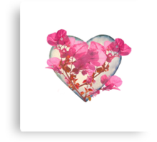 Heart Shaped with Flowers Digital Collage Canvas Print