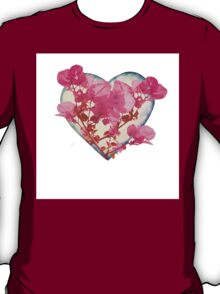 Heart Shaped with Flowers Digital Collage T-Shirt