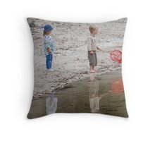 Kids playing at the Lake  Throw Pillow