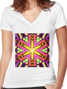 Abstract / Psychedelic / Geometric Artwork Women's Fitted V-Neck T-Shirt