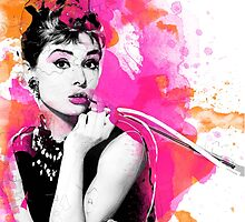 Audrey Hepburn digital watercolor by MissClaraBow