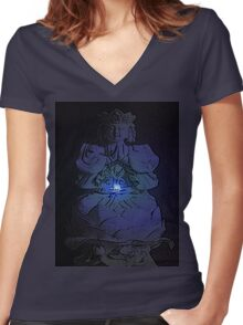 Tranquil Enlightening Buddha Women's Fitted V-Neck T-Shirt