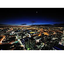 Moonrise over Melbournes west end Photographic Print