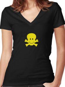 Skulley Women's Fitted V-Neck T-Shirt
