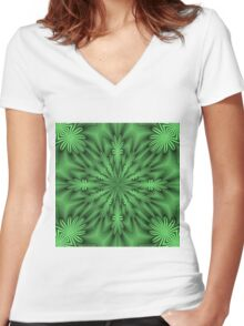Green Abstract Flowers Women's Fitted V-Neck T-Shirt