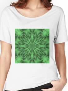 Green Abstract Flowers Women's Relaxed Fit T-Shirt