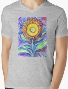 Flagler Beach Sunflower Mens V-Neck T-Shirt