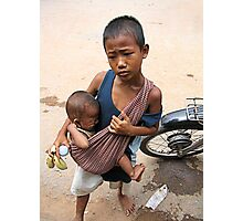 Hungry Siblings Photographic Print