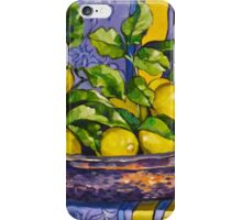 'Provence lemons in a copper bowl' 2012Ⓒ Oil on canvas. iPhone Case/Skin
