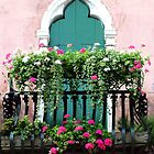 The Green Ornate Door with Geraniums by Donna Corless