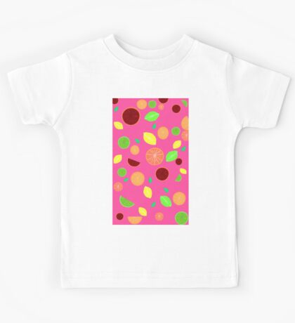 Colorful citrus background (Pink) Kids Tee