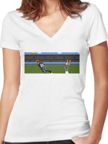 Tecmo Bowl Touchdown Marshawn Lynch Women's Fitted V-Neck T-Shirt