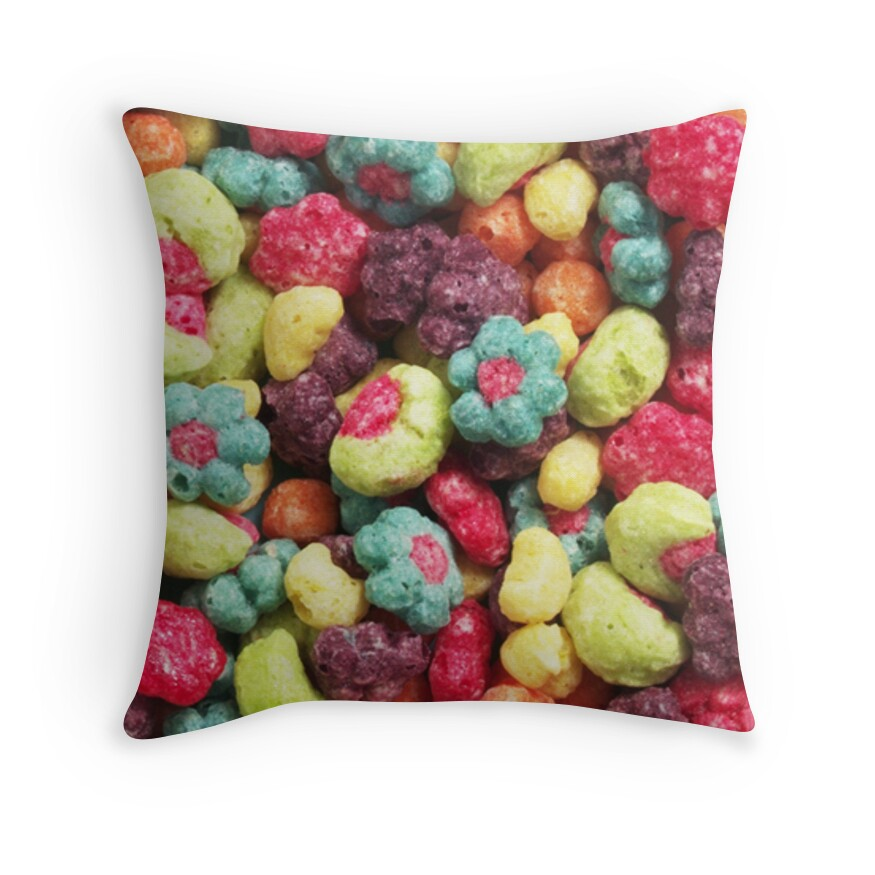 Quot Fruit Shaped Cereal Quot Throw Pillows By Gasm Redbubble