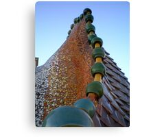 Gaudi's Casa Batllo ceramic dragon's back roof tiles Canvas Print