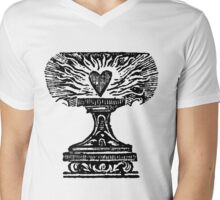 Black Heart Flame Mens V-Neck T-Shirt