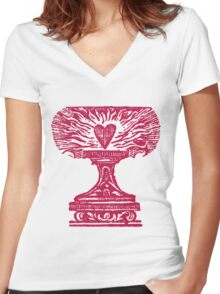 Red Heart Flame Women's Fitted V-Neck T-Shirt