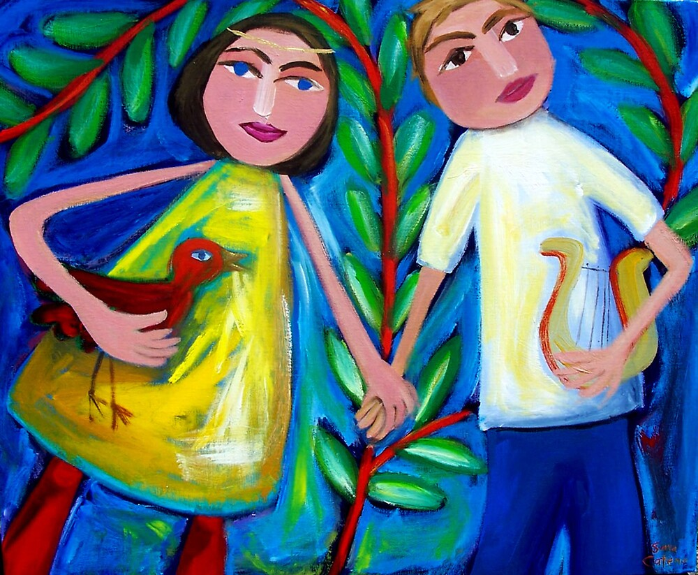 ORPHEUS  AND  EURYDICE  DANCING  WITH  THE  LOVEBIRD by ART PRINTS ONLINE         by artist SARA  CATENA