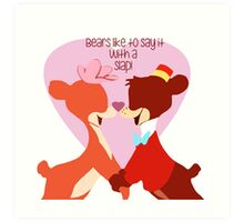 """Bears Like to Say it with a Slap!"" Bongo Lulubelle Valentine's Day Heart Love Romance Pink Red Bear Couple Cartoon Gift Idea Vintage Anniversary Art Print"