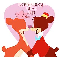 """""""Bears Like to Say it with a Slap!"""" Bongo Lulubelle Valentine's Day Heart Love Romance Pink Red Bear Couple Cartoon Gift Idea Vintage Anniversary by CanisPicta"""
