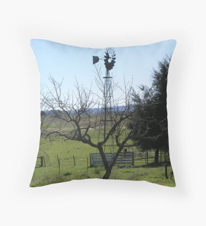 Windmill on the Ranch Throw Pillow