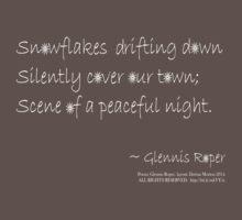 Snowflakes Drifting down haiku, white text One Piece - Short Sleeve