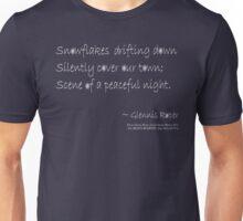 Snowflakes Drifting down haiku, white text Unisex T-Shirt