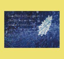 snowflake in blue 7 haiku with texture Kids Tee