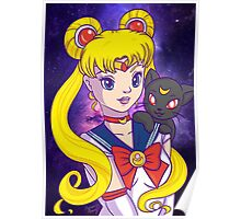 Sailor Moon and Luna Poster