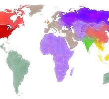 Colorful world map in water color by rubina