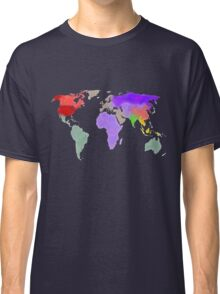 Colorful world map in water color Classic T-Shirt