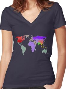Colorful world map in water color Women's Fitted V-Neck T-Shirt