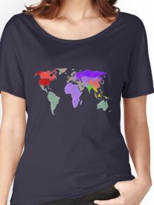 Colorful world map in water color Women's Relaxed Fit T-Shirt