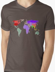 Colorful world map in water color Mens V-Neck T-Shirt