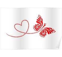 Butterfly, Heart, Forever Love, Valentine´s Day Poster