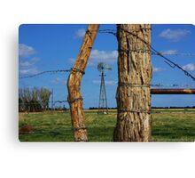 Kansas Country Framed Windmill Canvas Print