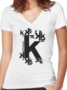 KAFKAESQUE Women's Fitted V-Neck T-Shirt