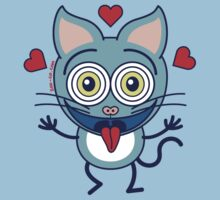 Odd cat showing hearts and feeling crazy in love One Piece - Short Sleeve