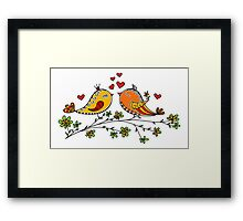 LOVE BIRDS, VALENTINE`S DAY, HEARTS, COLOR Framed Print