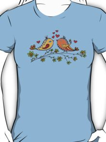 LOVE BIRDS, VALENTINE`S DAY, HEARTS, COLOR T-Shirt