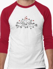 LOVE BIRDS, VALENTINE`S DAY, HEARTS, COLOR Men's Baseball ¾ T-Shirt