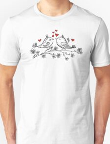 LOVE BIRDS, VALENTINE`S DAY, HEARTS, COLOR Unisex T-Shirt