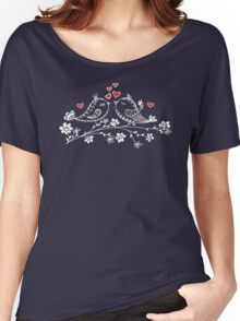 LOVE BIRDS, VALENTINE`S DAY, HEARTS, COLOR Women's Relaxed Fit T-Shirt