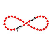 Forever Love, Infinity Loop, Hearts, VALENTINE`S DAY Photographic Print