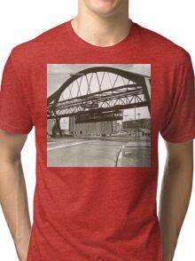 Vintage Wuppertal Floating Train Photo Tri-blend T-Shirt