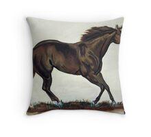 Running Quarter Horse Throw Pillow