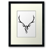 Red Stag Skull and Antlers Framed Print